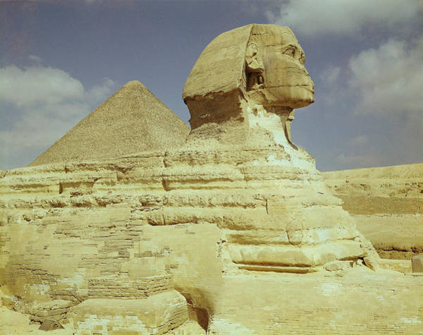 Egypt Photograph - The Sphinx And The Great Pyramid Of Khufu At Giza, Old Kingdom, C.2613-2494 Bc Photo See Also 59243 by Egyptian 4th Dynasty
