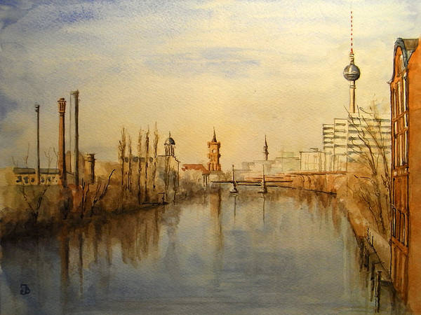 Wall Art - Painting - The Spree Berlin by Juan  Bosco