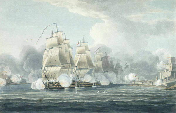 Warfare Drawing - The Squadron Under Command Of Sir F.t by Thomas Whitcombe