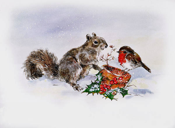 Diane Berry Photograph - The Squirrel And The Robin by Diane Matthes
