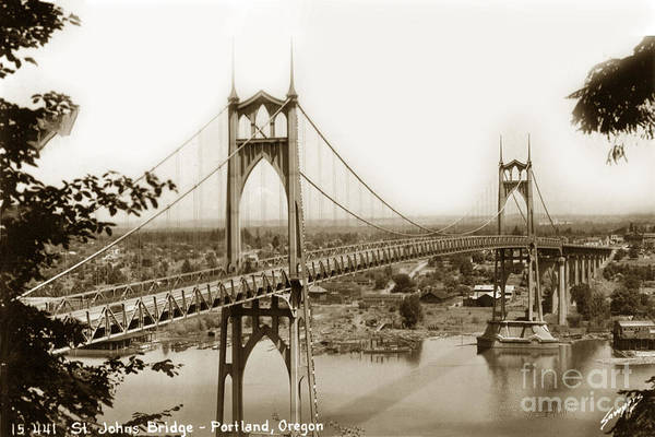 Photograph - The St. Johns Bridge Is A Steel Suspension Bridge That Spans The Willamette River by California Views Archives Mr Pat Hathaway Archives