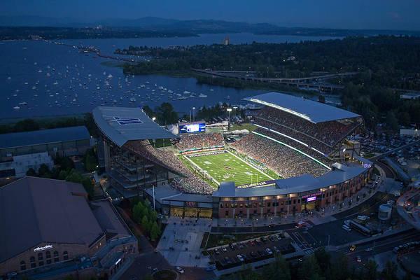 University Of Washington Wall Art - Photograph - Husky Stadium And The Mountain by Max Waugh