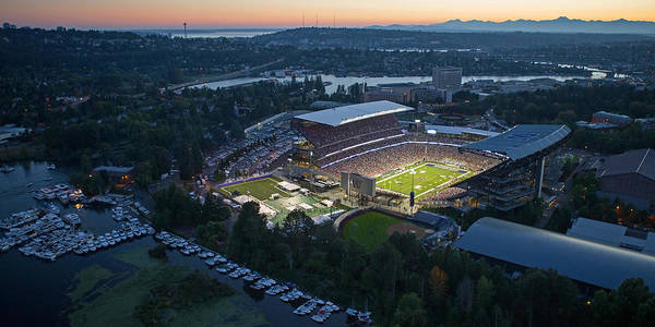 University Of Washington Wall Art - Photograph - Husky Stadium And The Needle by Max Waugh