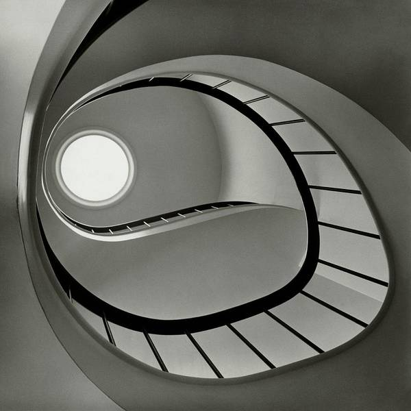 Architecture Photograph - The Staircase In Mr. And Mrs. Albert by Fred Lyon