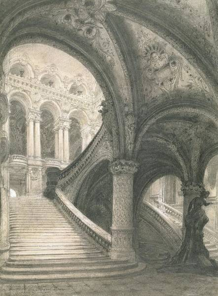 Wall Art - Drawing - The Staircase Of The Paris Opera House by Charles Garnier
