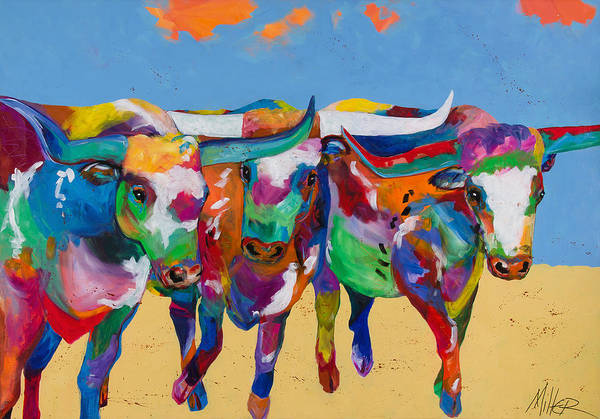 Longhorn Painting - The Stampede by Tracy Miller