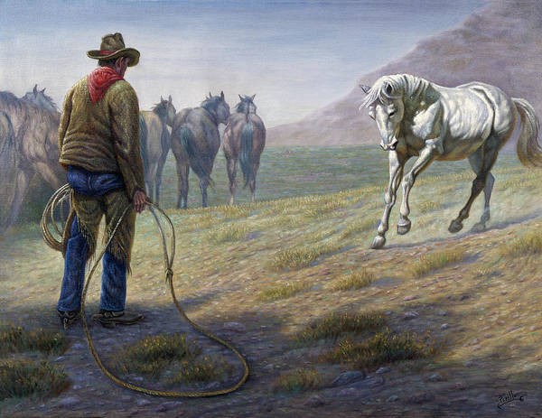 Corral Wall Art - Painting - The Standoff by Gregory Perillo