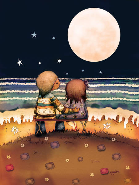 Sweetheart Digital Art - The Stars The Moon And The Tide by Karin Taylor
