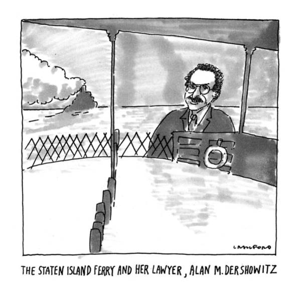 1993 Drawing - The Staten Island Ferry And Her Lawyer by Michael Crawford