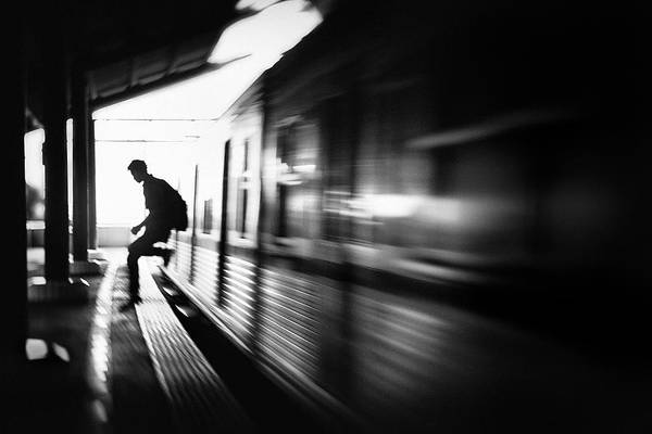 Railroads Photograph - @the Station: Rush Arrival by Sebastian Kisworo