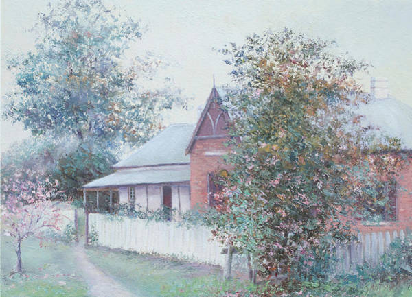 White Picket Fence Painting - The Stationmaster's Cottage by Jan Matson