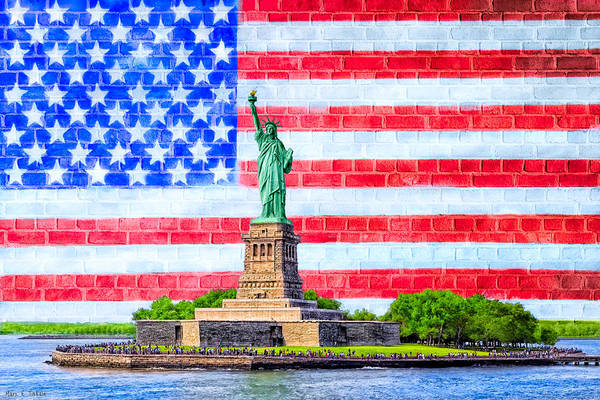 Statue Of Liberty National Monument Wall Art - Photograph - The Statue Of Liberty And The American Flag by Mark E Tisdale
