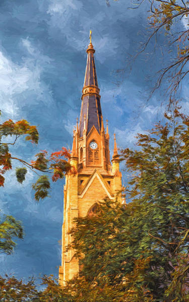 Photograph - The Steeple Of The Basilica Of The Sacred Heart by John M Bailey