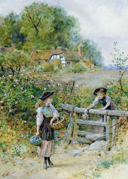 Picnic Basket Wall Art - Painting - The Stile by William Stephen Coleman