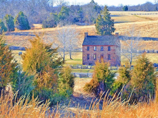 Digital Art - The Stone House / Manassas National Battlefield Park In Winter by Digital Photographic Arts