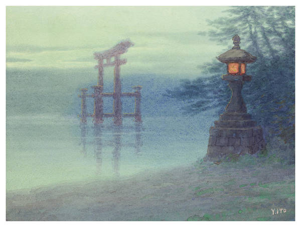 Wall Art - Painting - The Stone Lantern Cira 1880 by Aged Pixel