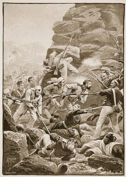 Rifle Drawing - The Stormers Dashed Over The Debris by Alfred Pearse
