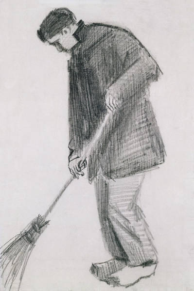 Wall Art - Drawing - The Street Cleaner by Vincent van Gogh