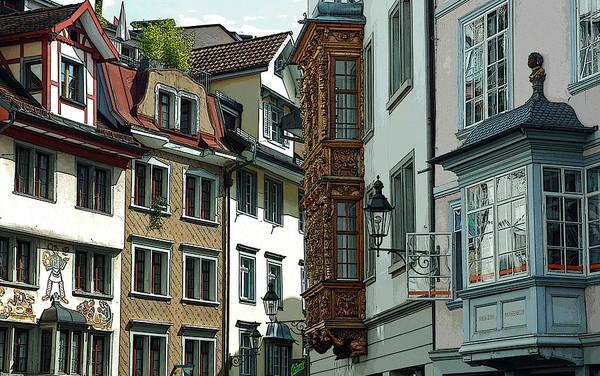 Photograph - Bay Windows Of San Gallen Switzerland by Ginger Wakem