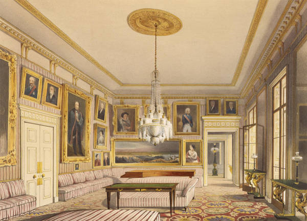 Chandelier Painting - The Striped Drawing Room, Apsley House by Thomas Shotter Boys