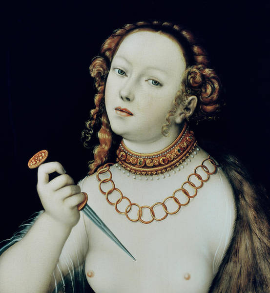 Tits Painting - The Suicide Of Lucretia by Lucas the Elder Cranach