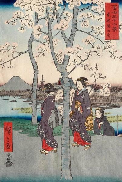 Thirty-six Views Of Mount Fuji Wall Art - Painting - The Sumida River Embankment In Edo by Utagawa Hiroshige