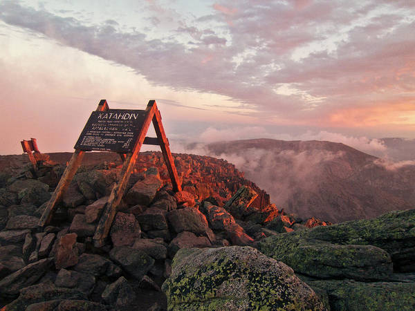 Baxter State Park Photograph - The Summit Sign On Maines Mount by Chris Bennett