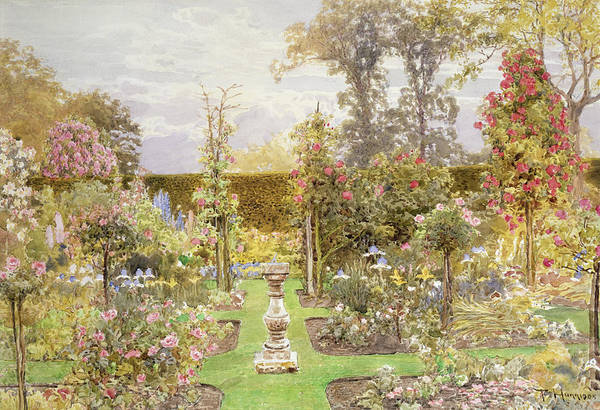 Dial Painting - The Sun Dial In The Rose Garden by Thomas H Hunn