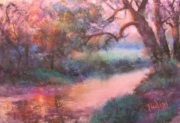 Pastel - The Sun Going Down On Cocalico Creek by Bill Puglisi