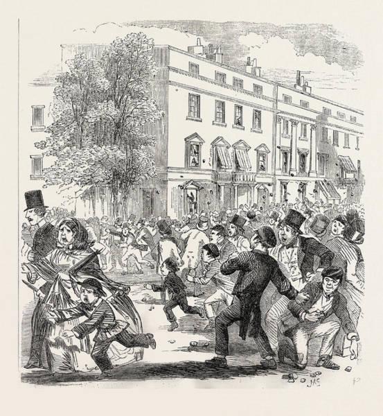 Wall Art - Drawing - The Sunday Riots At Belgravia, London, Uk by English School