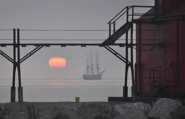 Photograph - The Sunrises On A Tall Ship In Door County by Larry Peterson