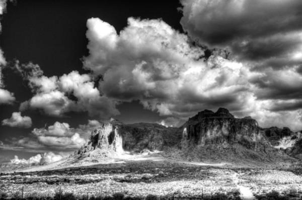 Superstition Mountains Photograph - The Superstitions - Black And White  by Saija  Lehtonen
