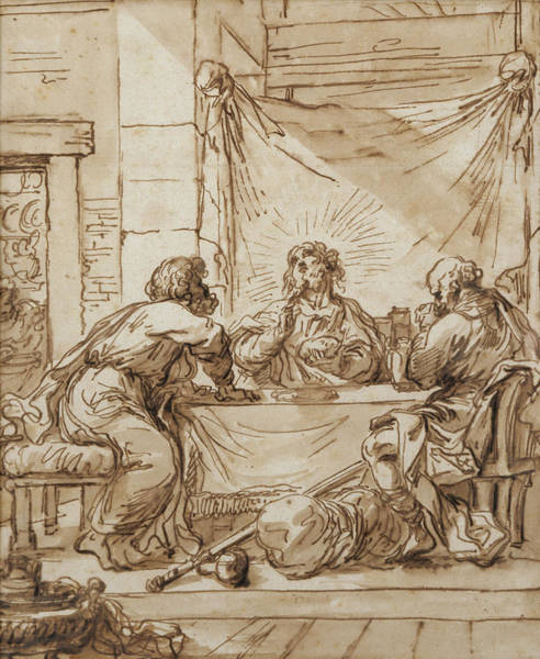 Wall Art - Drawing - The Supper At Emmaus  by Guercino