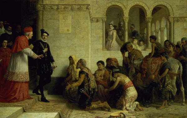 Gonzales Wall Art - Painting - The Supplicants. The Expulsion by Edwin Longsden Long