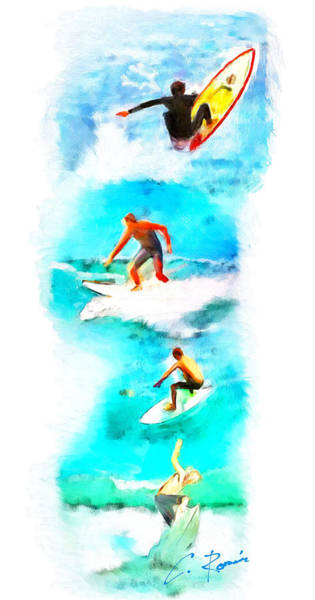 Painting - The Surfers by Charlie Roman