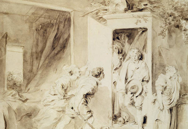 Jeans Drawing - The Surprised Lover by Jean-Honore Fragonard