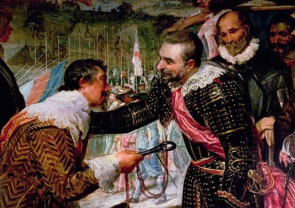 Siege Photograph - The Surrender Of Breda 1625, Detail Of Justin De Nassau Handing The Keys Over To Ambroise Spinola by Diego Rodriguez de Silva y Velazquez