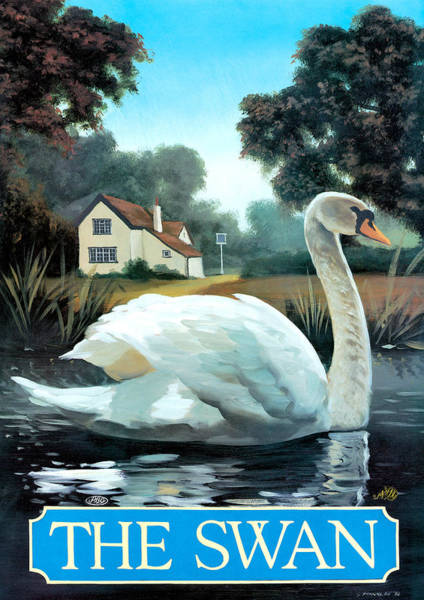Tavern Painting - The Swan by MGL Meiklejohn Graphics Licensing