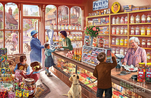 Golden Retriever Digital Art - The Sweetshop by MGL Meiklejohn Graphics Licensing