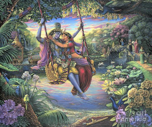 Painting - The Swing Pastime by Vishnudas Art