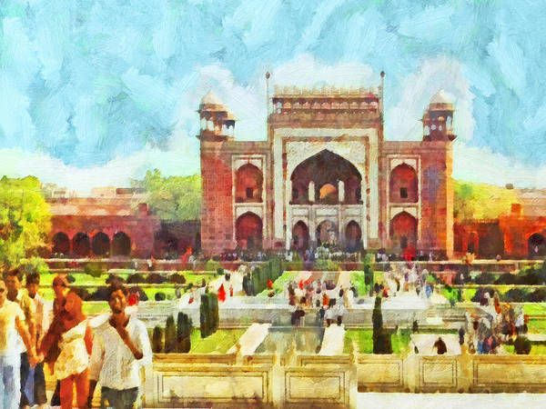 Digital Art - The Taj Mahal Gardens by Digital Photographic Arts