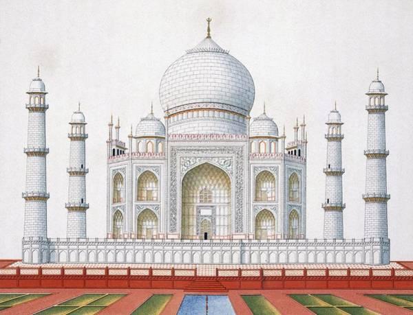 Monument Drawing - The Taj Mahal by German School