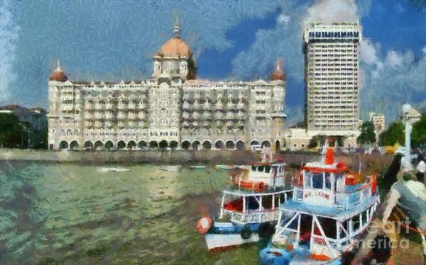 Mumbai Painting - The Taj Mahal Hotel In Mumbai by George Atsametakis