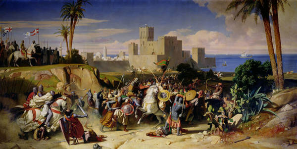 Sea Land Painting - The Taking Of Beirut By The Crusaders by Alexandre Jean Baptiste Hesse