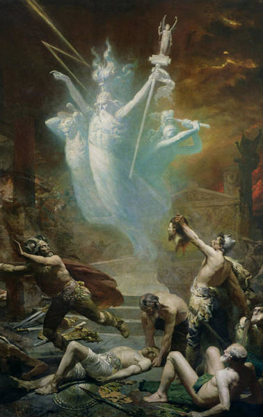 Beheaded Wall Art - Photograph - The Taking Of The Temple At Delphi By The Gauls, 1885 Oil On Canvas by Alphonse Cornet