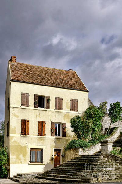 Stucco Photograph - The Tall Yellow House By The Old Stairway by Olivier Le Queinec