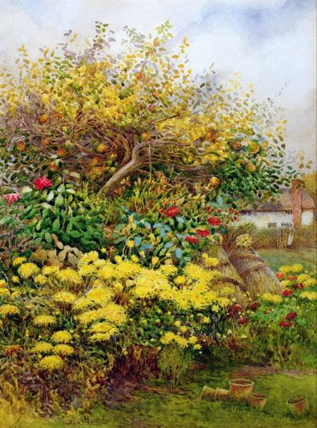 Apple Tree Painting - The Tangle Of Autumn, Temple Grafton by George H. Hughes