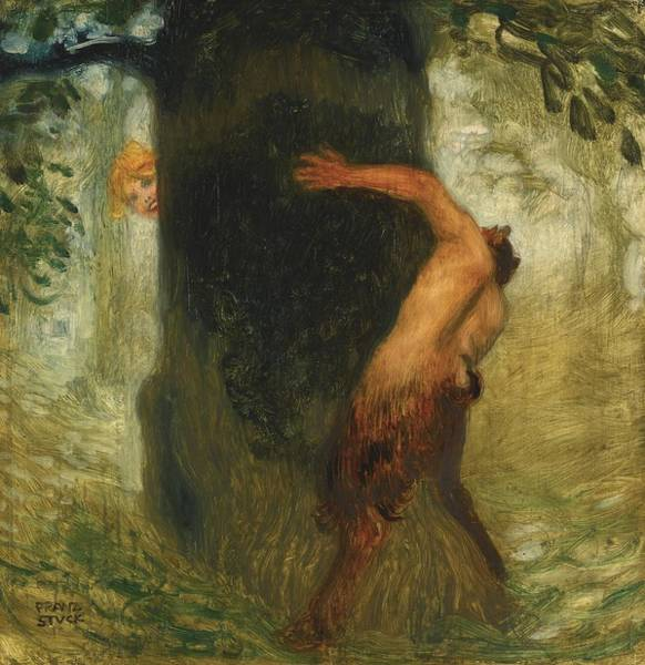 Franz Von Stuck Painting - The Tease by Celestial Images
