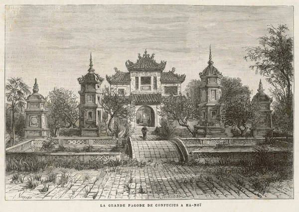 Vietnam Drawing - The Temple Of Confucius In Hanoi by Mary Evans Picture Library