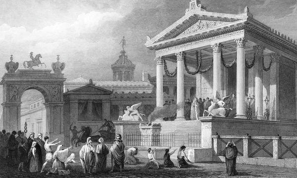 Wall Art - Drawing - The Temple Of Fortune Reconstruction by Mary Evans Picture Library